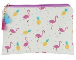 Multi Flamingo Pineapple Zipper Makeup Bag