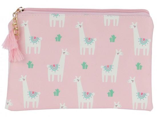 Multi Llama Pattern Zipper Makeup Bag
