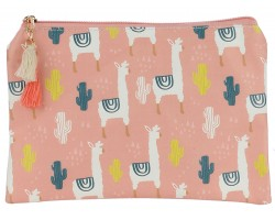 Pink Llama Cactus Pattern Zipper Makeup Bag