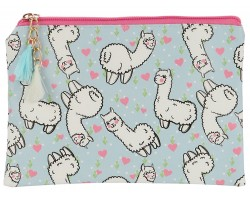 Multi Llama Heart Pattern Zipper Makeup Bag