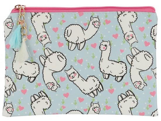 Multi Llama Heart Pattern Zipper Makeup Bag