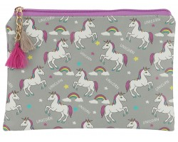 Gray Unicorn Rainbow Pattern Makeup Bag