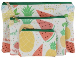 Multi Fruit Pattern Zipper Makeup Bag 3pc