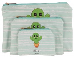 Green Hug Me Cactus Zipper Makeup Bag 3pc