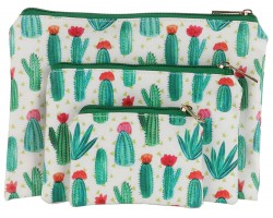 Green Cactus Pattern Zipper Makeup Bag 3pc.