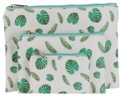 Green Tropical Leaf Pattern Makeup Bag 3pc