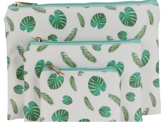 Green Tropical Leaf Pattern Makeup Bag 3pc