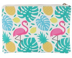 Multi Flamingo Tropical Pattern Zipper Makeup Bag