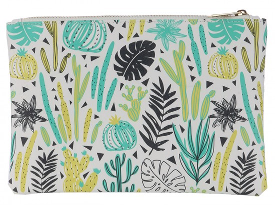 Multi Cactus Pattern Zipper Makeup Bag