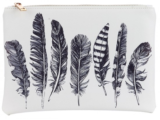 White Black Feathers Zipper Makeup Bag
