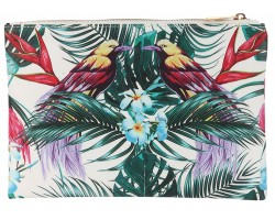 Multi Tropical Birds Zipper Makeup Bag