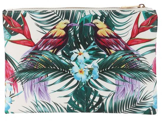 Multi Tropical Birds Zipper Makeup Bag