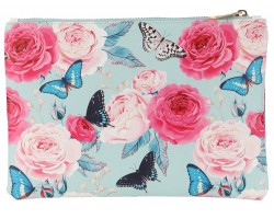 Multi Butterfly Roses Pattern Zipper Makeup Bag