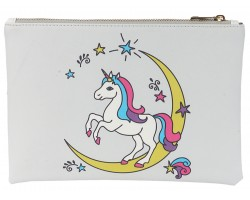 Multi Unicorn Moon Zipper Makeup Bag