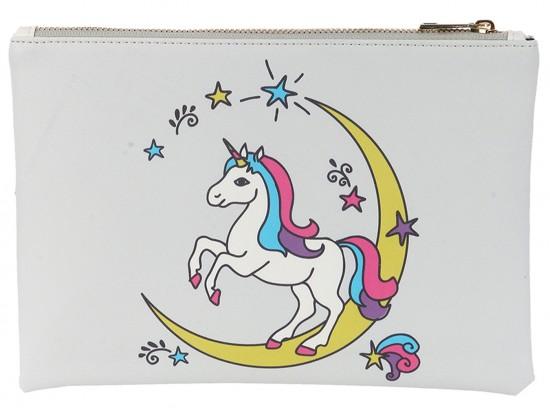 Multi Unicorn Moon Zipper Makeup Bag