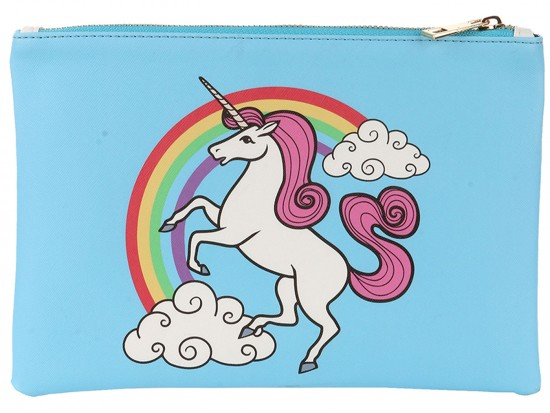 Multi Unicorn Rainbow Zipper Makeup Bag
