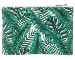 Green Leaf Tropical Pattern Zipper Makeup Bag
