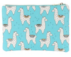 Multi Llama Pattern Zipper Makeup Bag