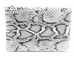Gray Snakeskin Print Zipper Makeup Bag