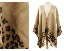 Brown Leopard Print Open Front Poncho