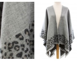 Gray Leopard Print Open Front Poncho