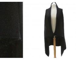 Black Plain Sleeveless Long Tail Cardigan