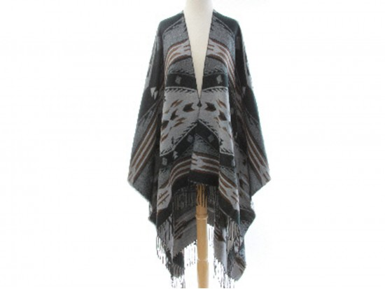 Black Tribal Print Fringe Poncho