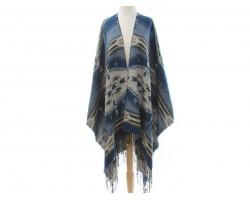 Blue Tribal Print Fringe Poncho