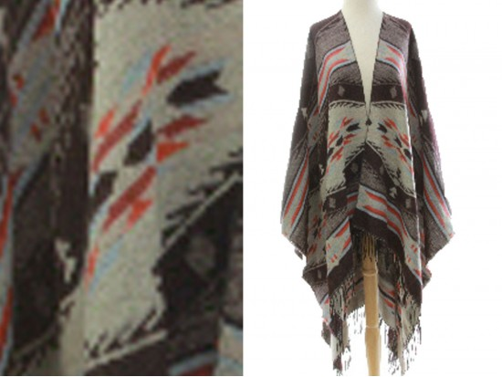 Brown Tribal Print Fringe Poncho
