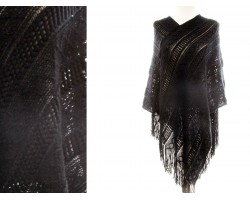Black Solid Tribal Pattern Knit Fringe Poncho