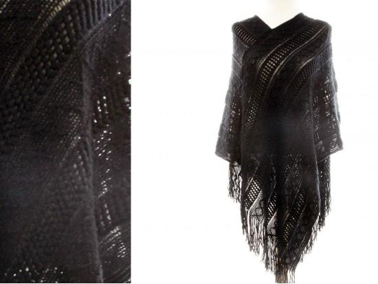 Black Solid Tribal Pattern Knit Fringe Poncho