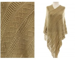 Light Brown Solid Tribal Pattern Knit Fringe Poncho