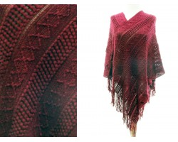 Maroon Solid Tribal Pattern Knit Fringe Poncho