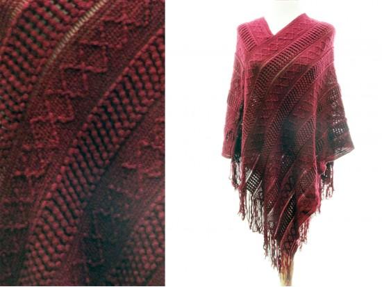 Maroon Solid Tribal Pattern Knit Fringe Poncho