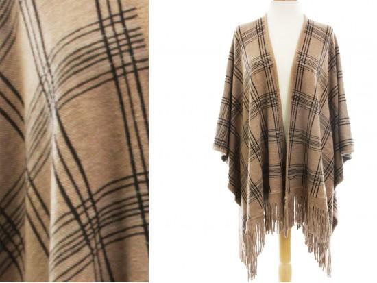 Brown Plaid Pattern Fridge Poncho