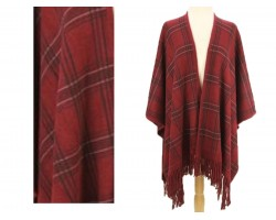 Maroon Plaid Pattern Fridge Poncho