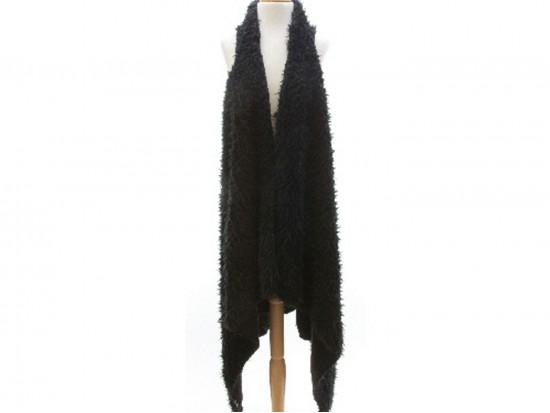 Black Fuzzy Sleeveless Cardigan