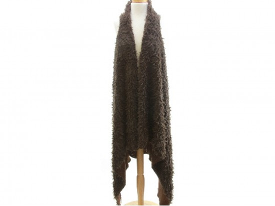 Dark Brown Fuzzy Sleeveless Cardigan