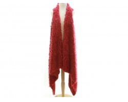 Red Fuzzy Sleeveless Cardigan