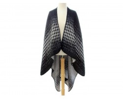 Black Grays Houndstooth Print Poncho