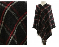 Black Plaid Print Fringe Poncho