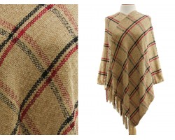 Light Brown Plaid Print Fringe Poncho