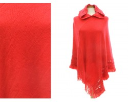 Red Hood Fringe Poncho