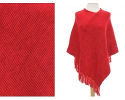 Red Plain Fringe Poncho