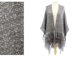 Gray Mix Knit Fringe Poncho