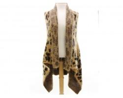 Light Brown Leopard Sleeveless Cardigan