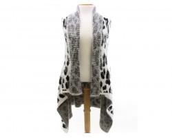 White Leopard Sleeveless Cardigan