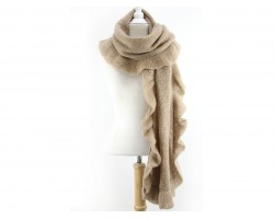 Brown Frill Edge Oblong Scarf