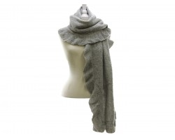 Gray Frill Edge Oblong Scarf