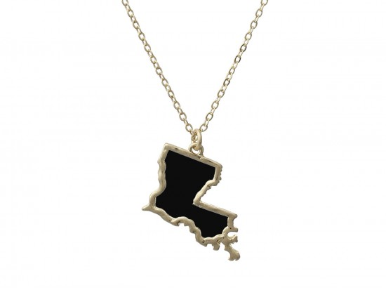 Black Gold Louisiana State Map Necklace